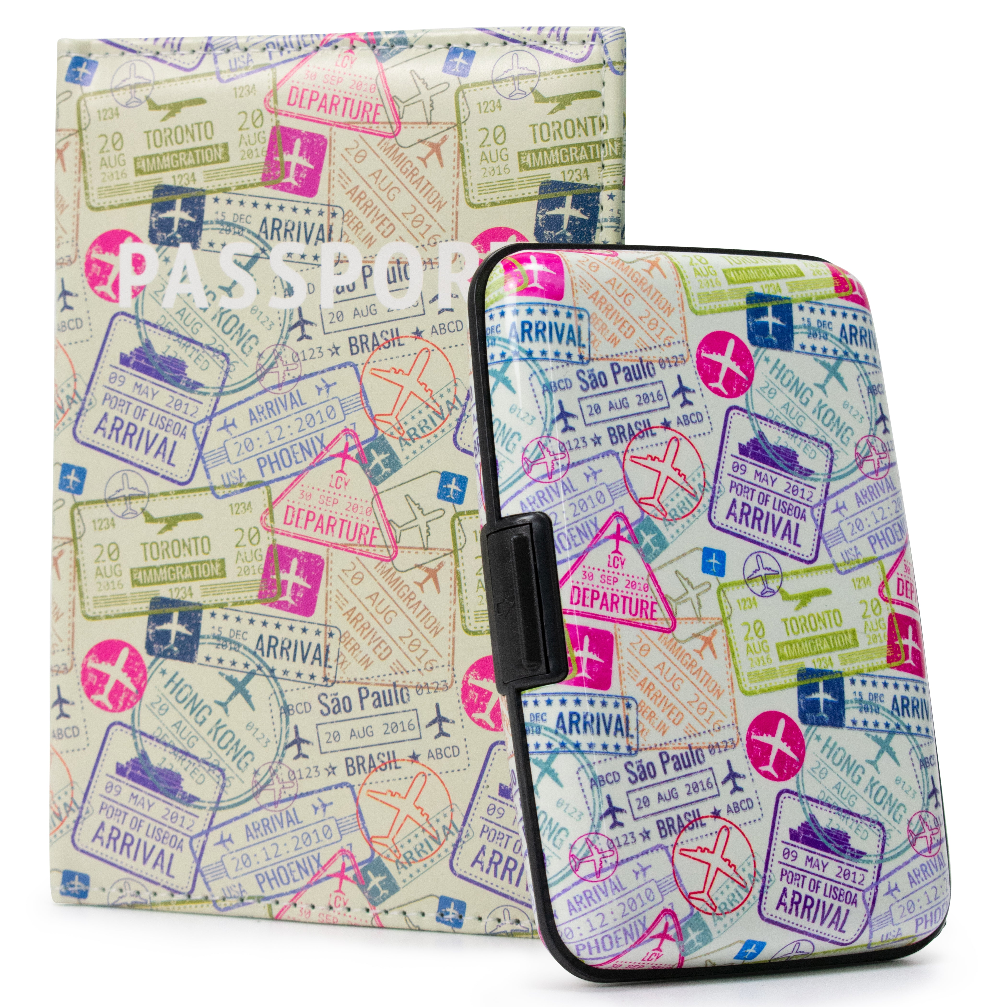 RFID Wallet & Passport Cover Set - Stamps - Travellty