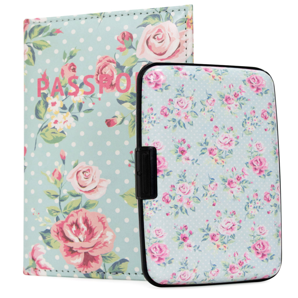 RFID Wallet & Passport Cover Set - Vintage Roses - Travellty