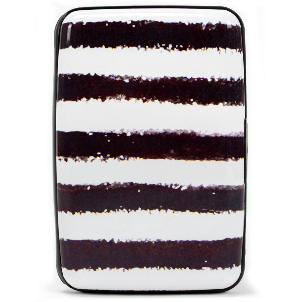 Collection RFID Wallet & Credit Card Case - Black Stripes - Travellty