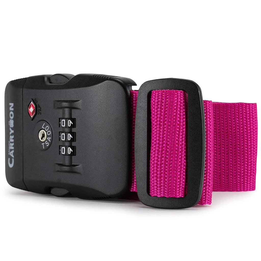 TSA Combination Lock Luggage Strap - Magenta / One Pack - Travellty