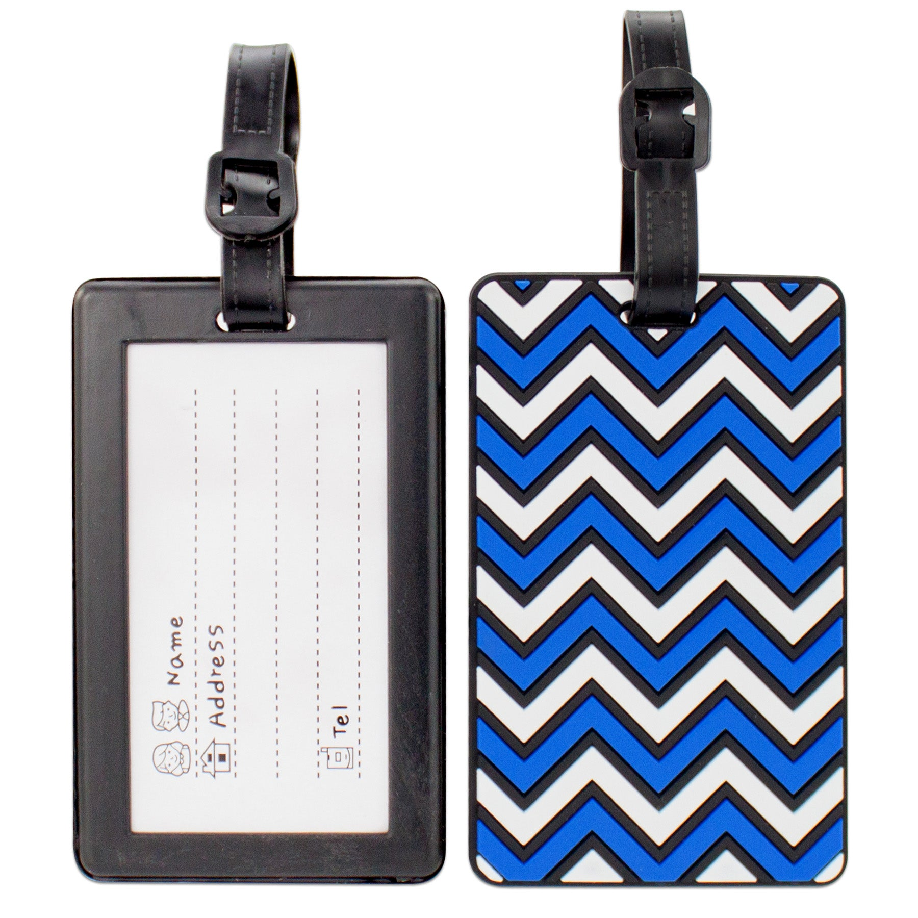 Colorful Collection Luggage Tags Set of 2 - Blue Chevron - Travellty