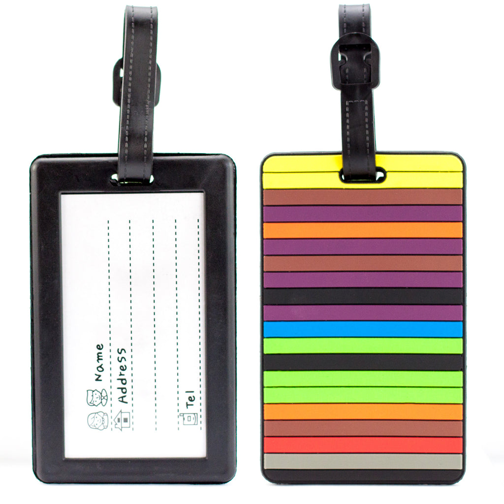 Colorful Collection Luggage Tags Set of 2 - Colorful Lines - Travellty