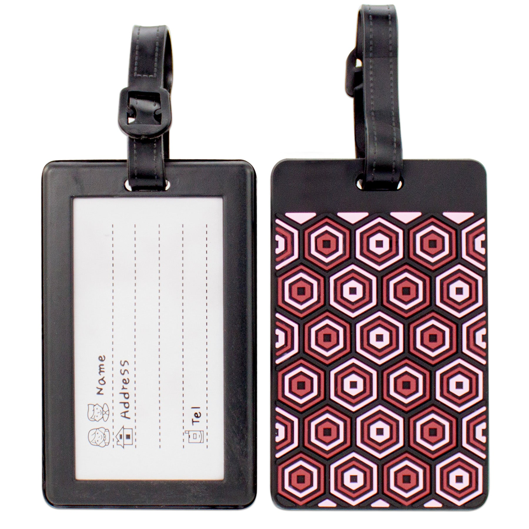 Colorful Collection Luggage Tags Set of 2 - Red Hexagons - Travellty