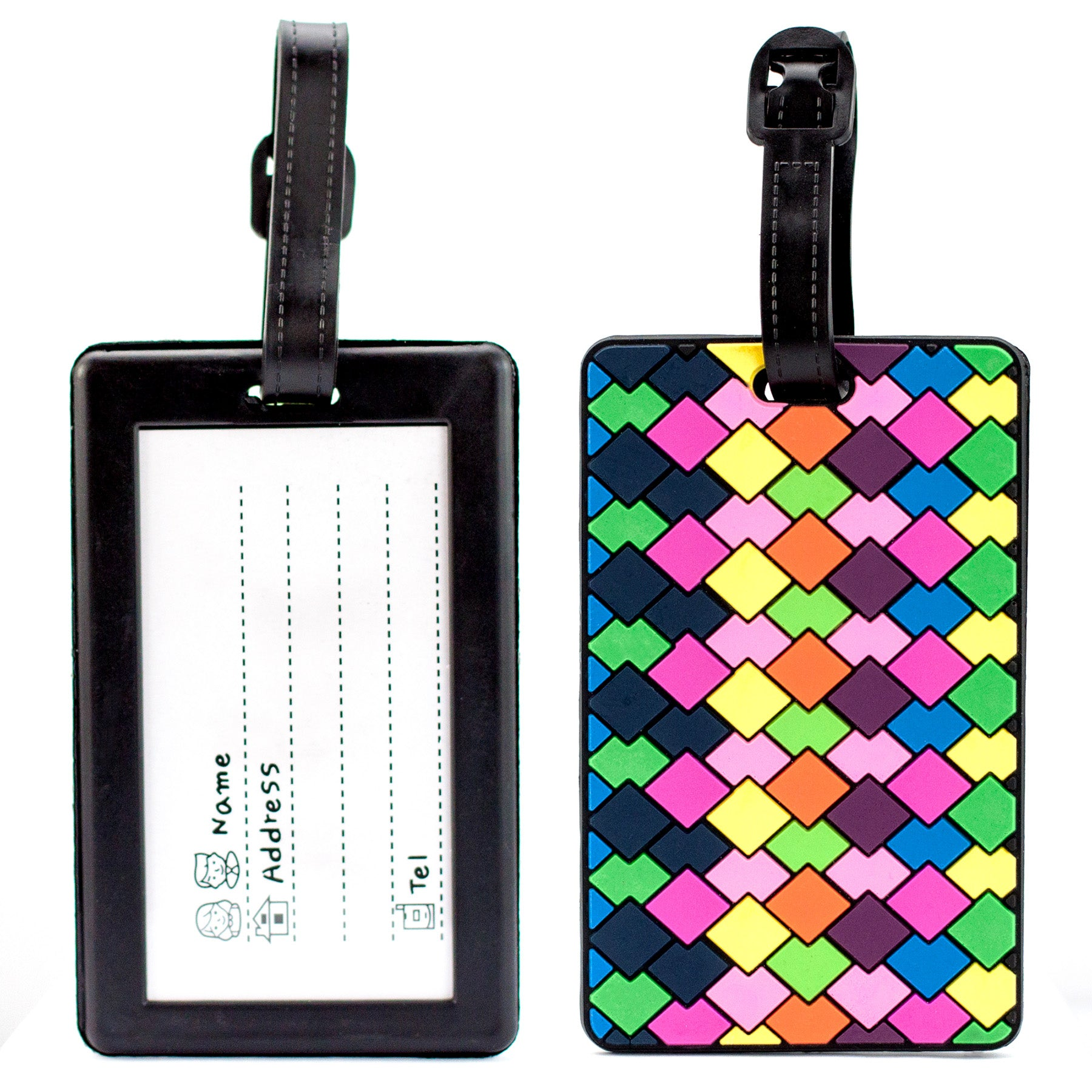Colorful Collection Luggage Tags Set of 2 - Colorful Diamonds - Travellty