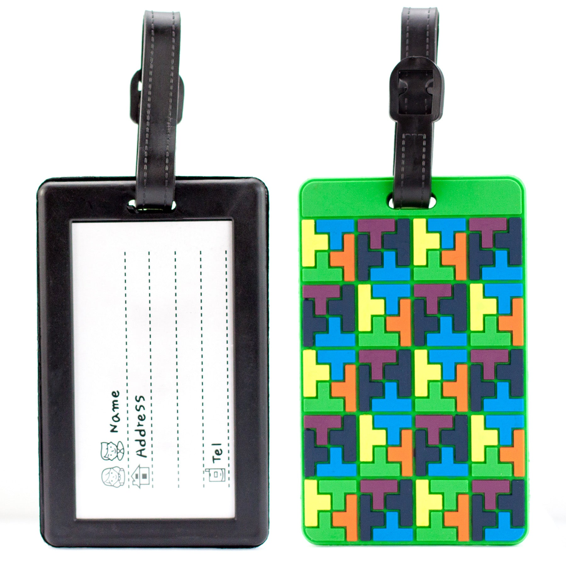 Colorful Collection Luggage Tags Set of 2 - Tetris Style - Travellty
