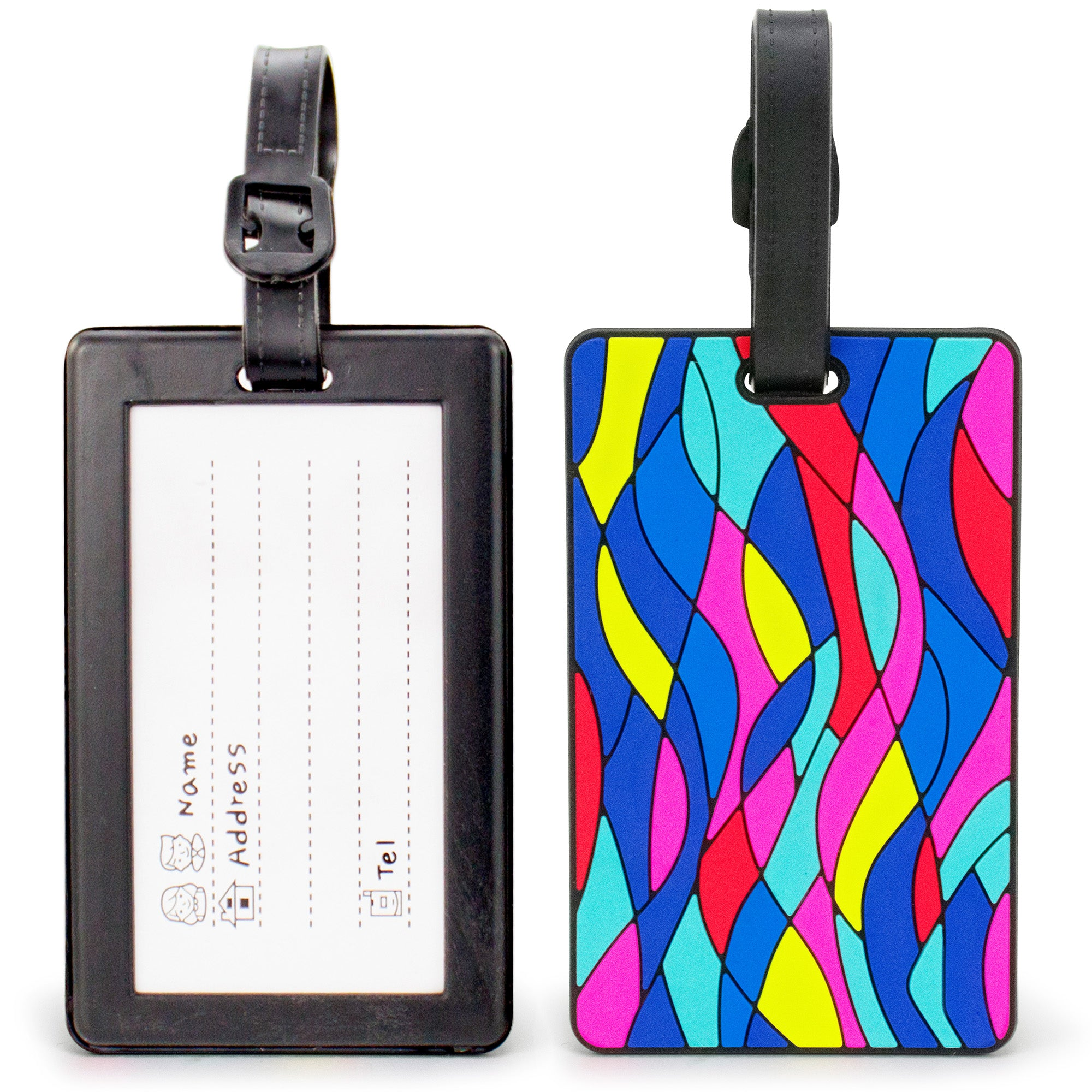 Colorful Collection Luggage Tags Set of 2 - Colorful Waves - Travellty