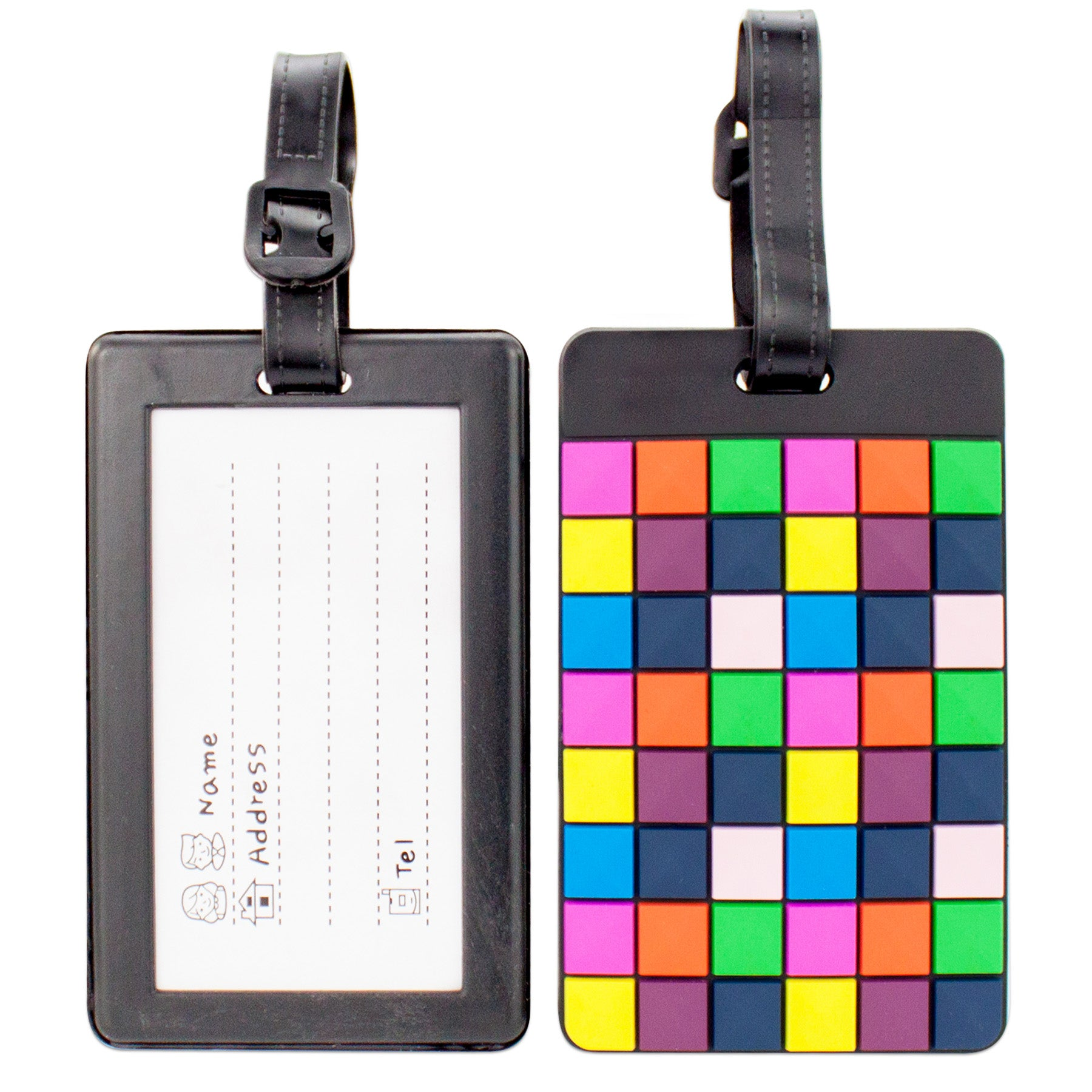 Colorful Collection Luggage Tags Set of 2 - Disco Squares - Travellty