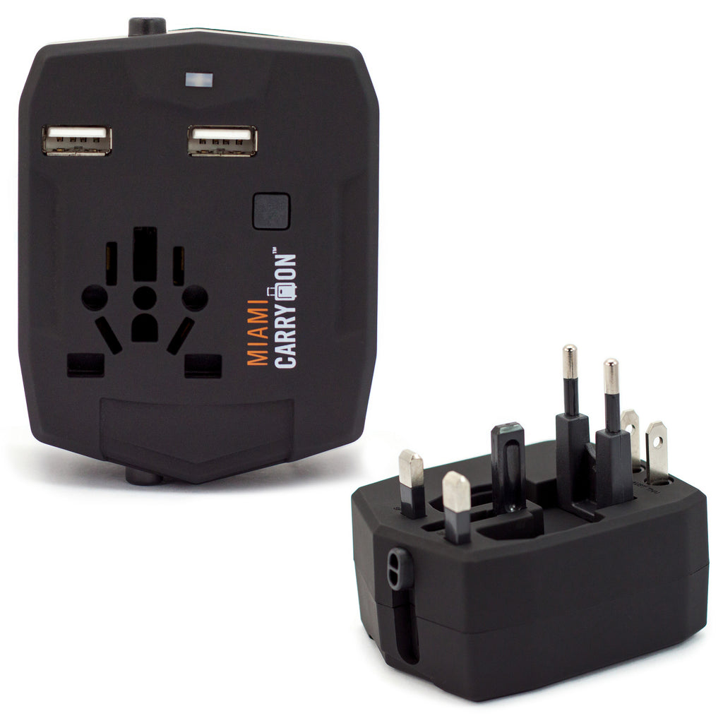 Travel Adapter with 2800mAh Power Bank and USB Ports - Black / Two Pack - Travellty