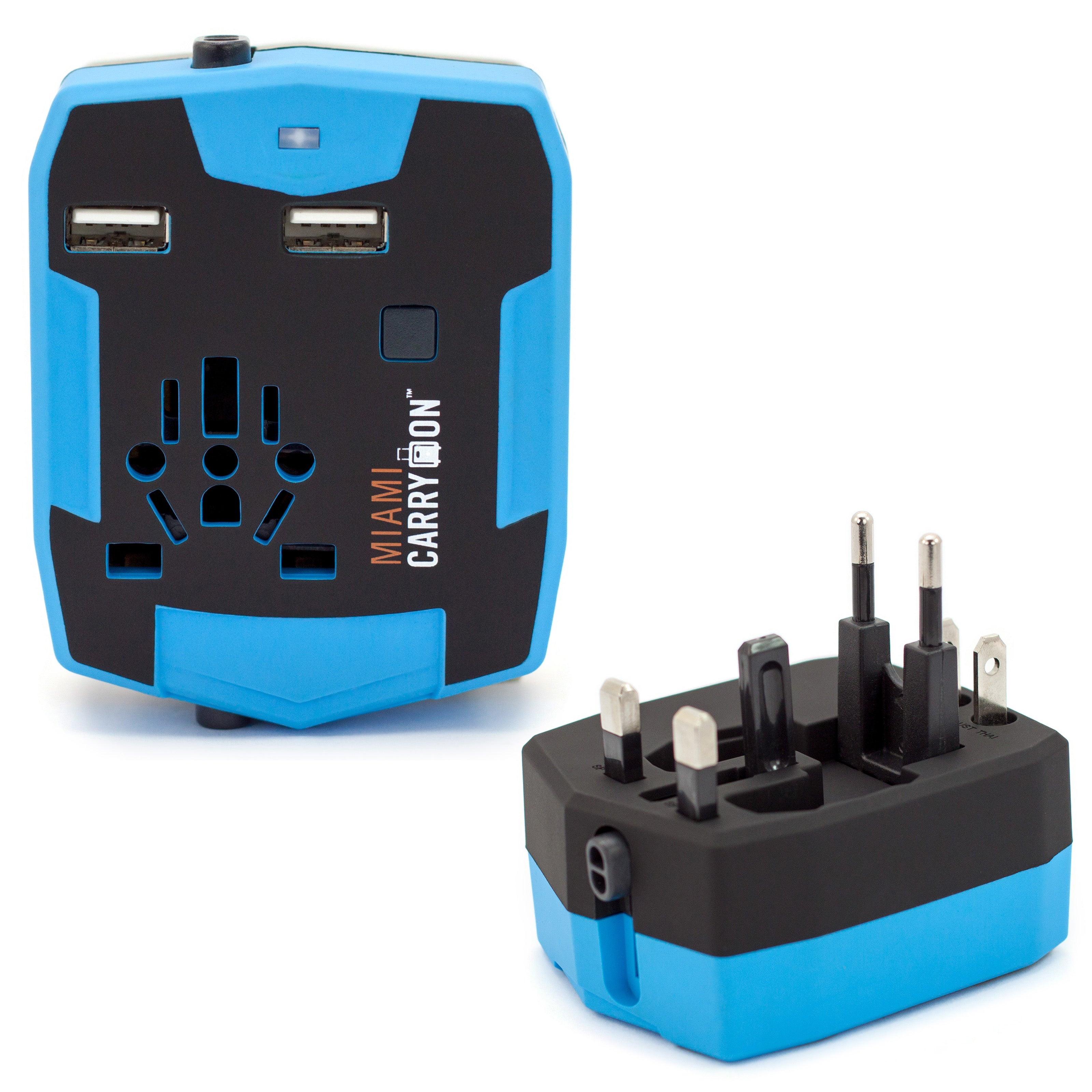 Travel Adapter with 2800mAh Power Bank and USB Ports - Blue / Two Pack - Travellty