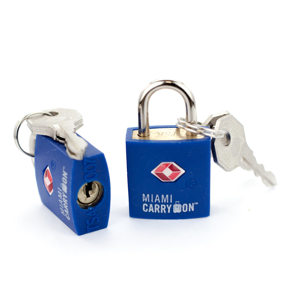TSA Approved Keyed Padlock [VALUE SET] - Blue / 2 Pack - Travellty