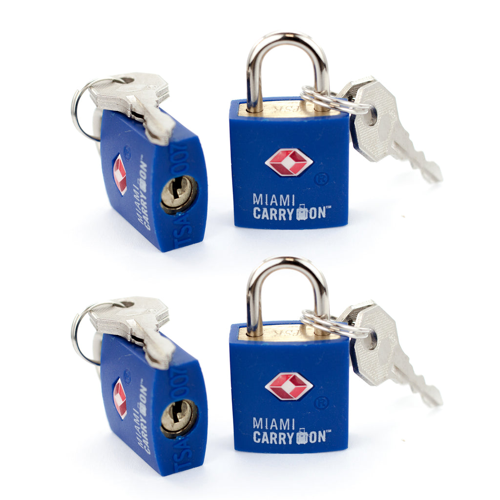 TSA Approved Keyed Padlock [VALUE SET] - Blue / 4 Pack - Travellty