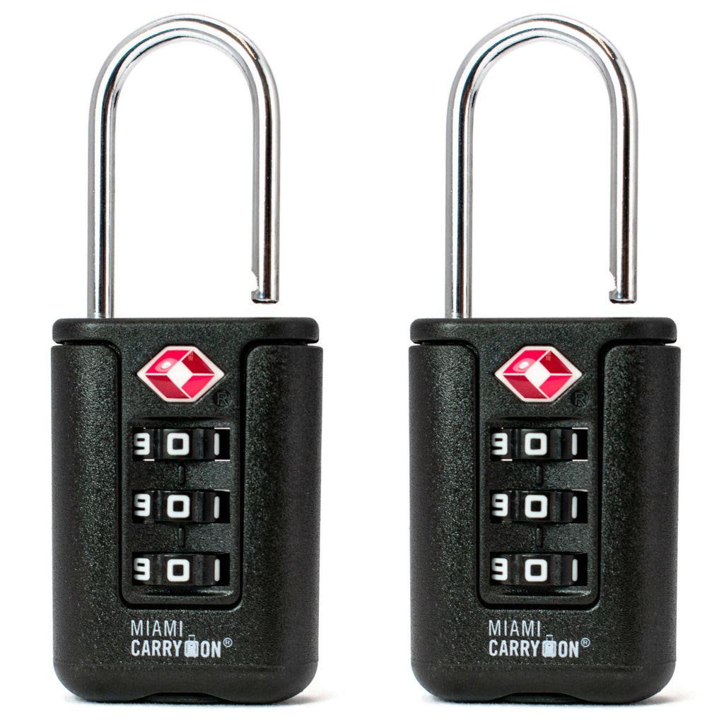 Two-Tone TSA Approved Combination Padlock - Black / 2 Pack - Travellty