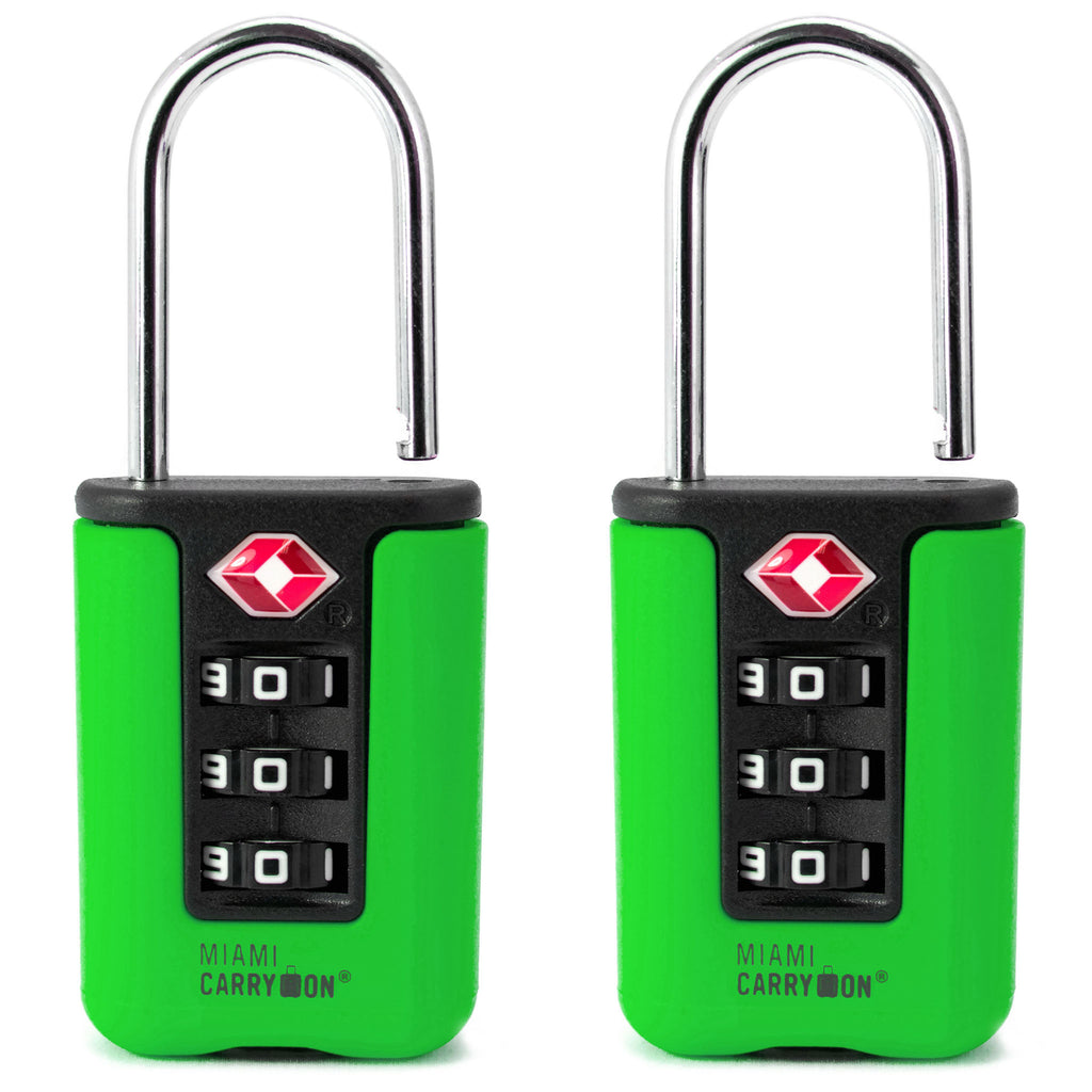 Two-Tone TSA Approved Combination Padlock - Green / 2 Pack - Travellty