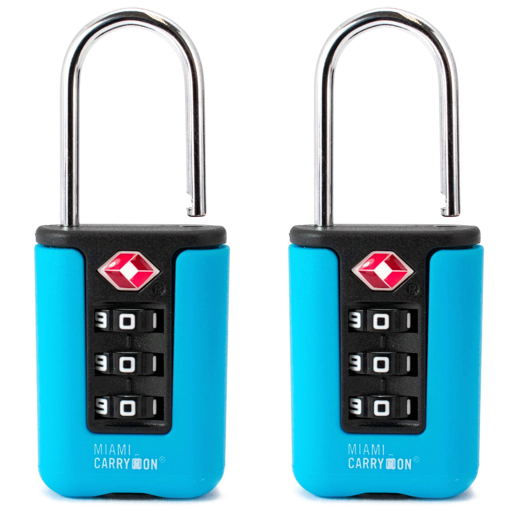 Two-Tone TSA Approved Combination Padlock - Light Blue / 2 Pack - Travellty