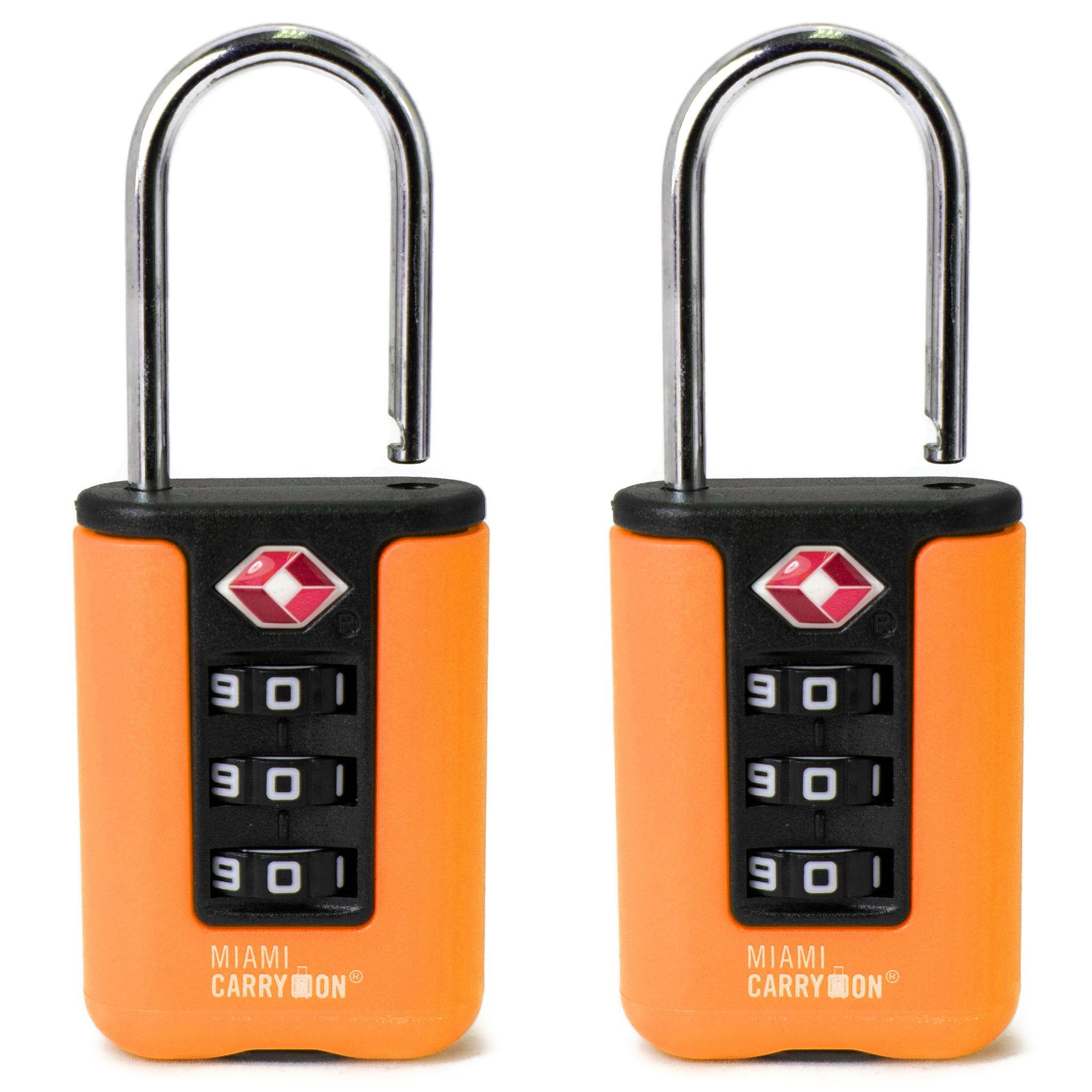 Two-Tone TSA Approved Combination Padlock - Orange / 2 Pack - Travellty