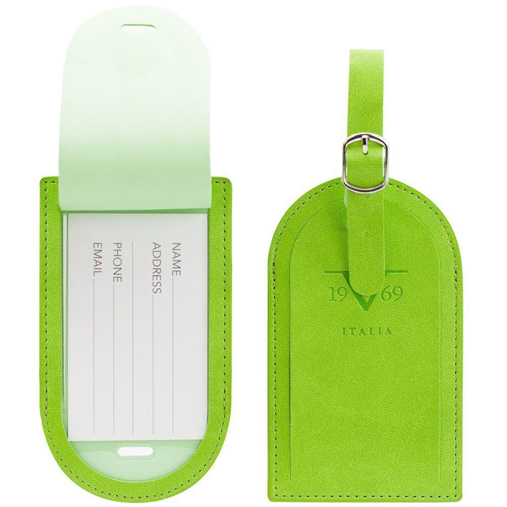 Round Top Vegan Leather Luggage Tags Set - Green - Travellty