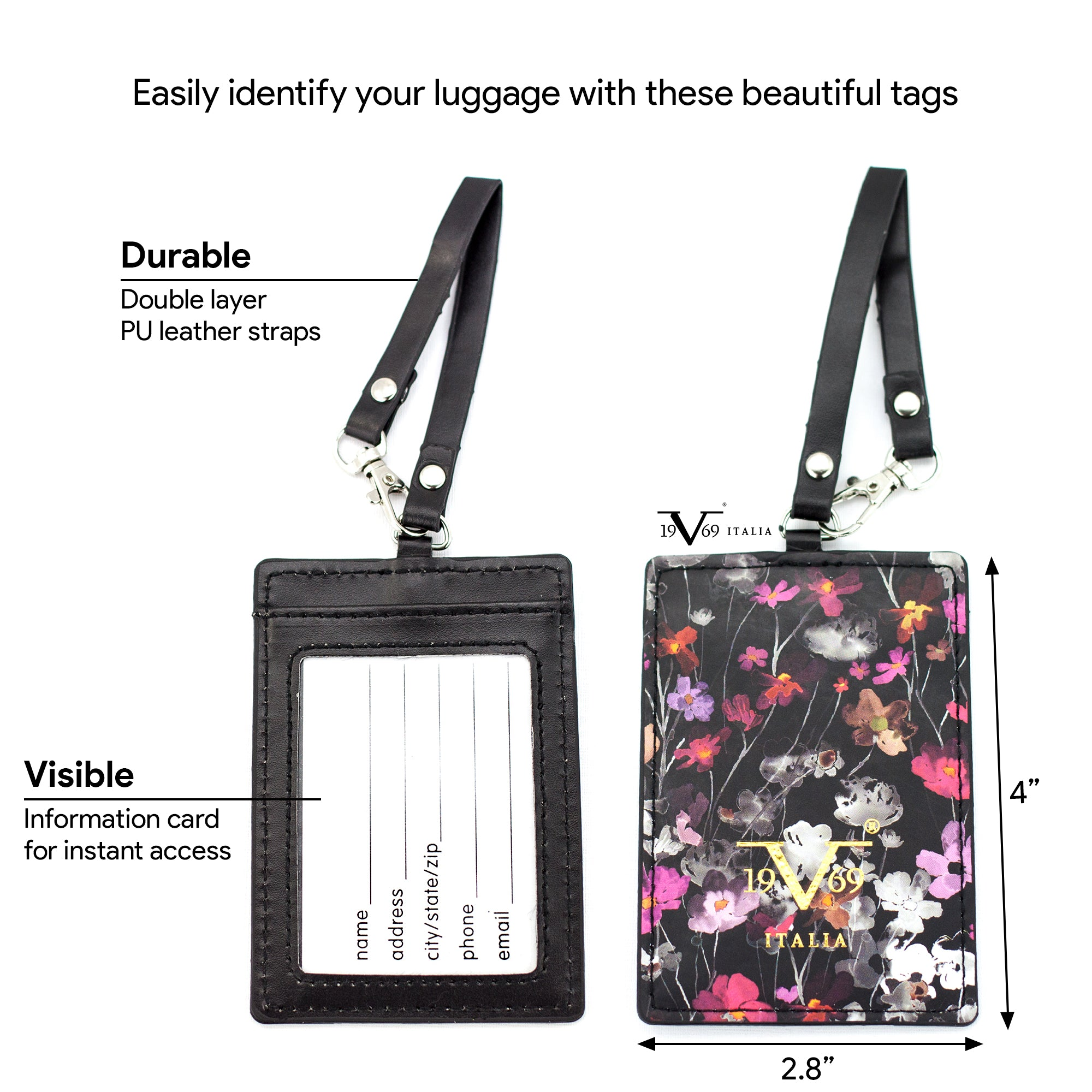 Runway Vegan Leather Luggage Tags Set - [variant_title] - Travellty