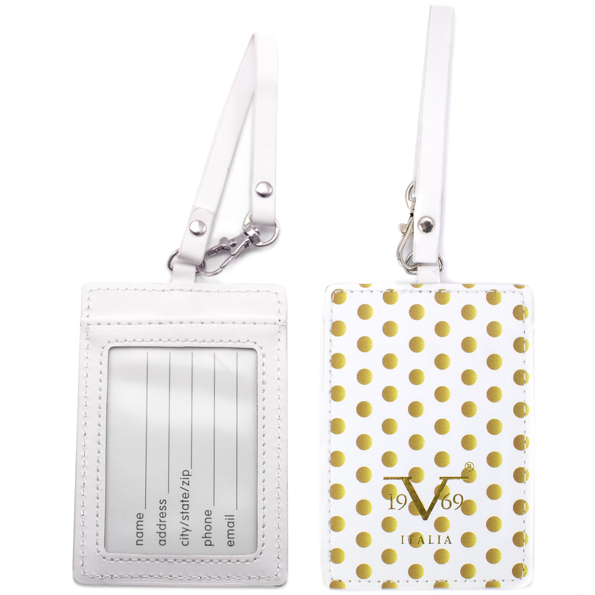 Runway Vegan Leather Luggage Tags Set - Golden Polka - Travellty