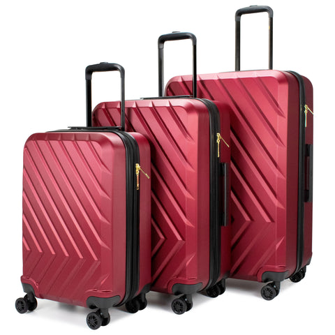 Arrow 3 Piece Expandable Hard Luggage Set (Red)
