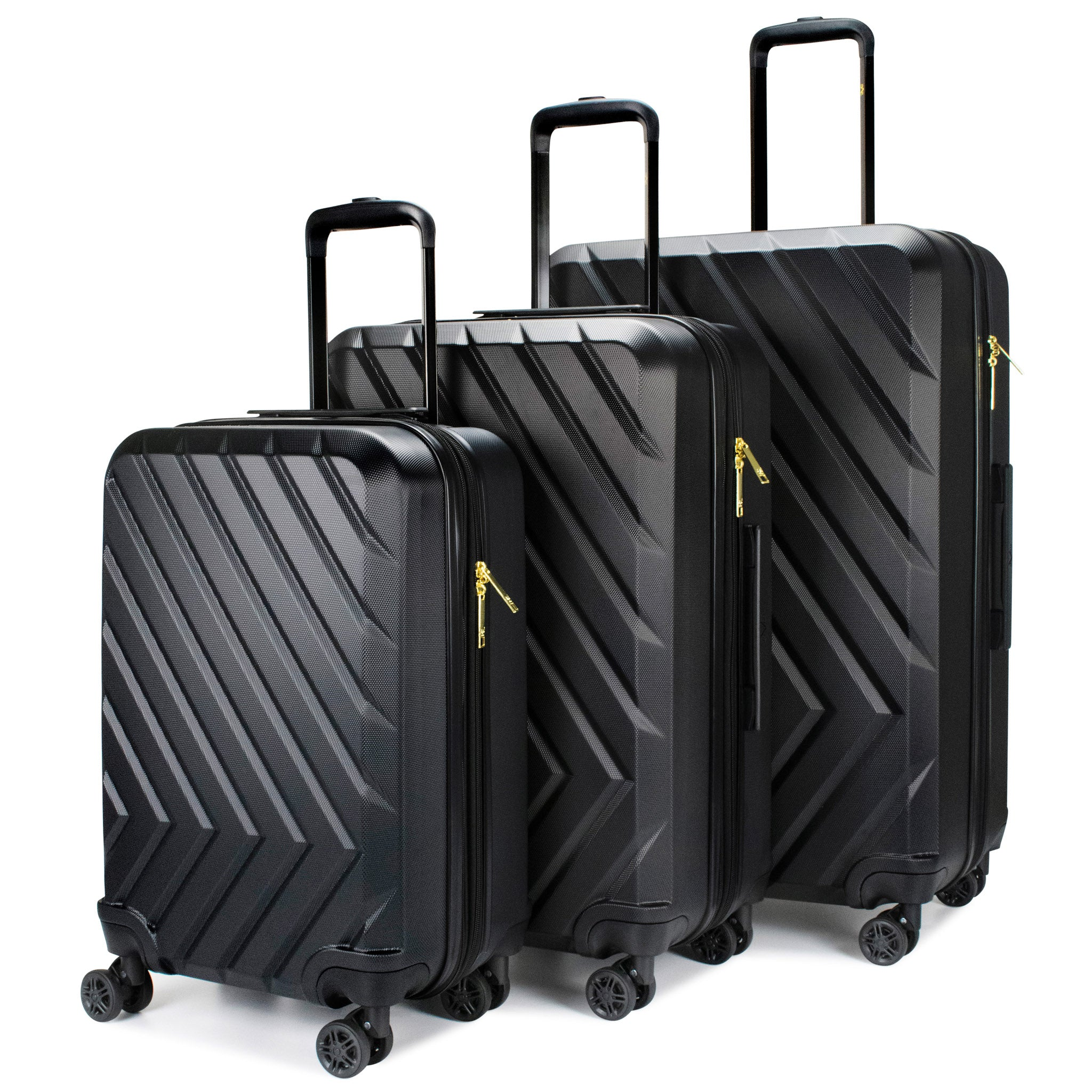 Arrow 3 Piece Expandable Hard Luggage Set (Black)