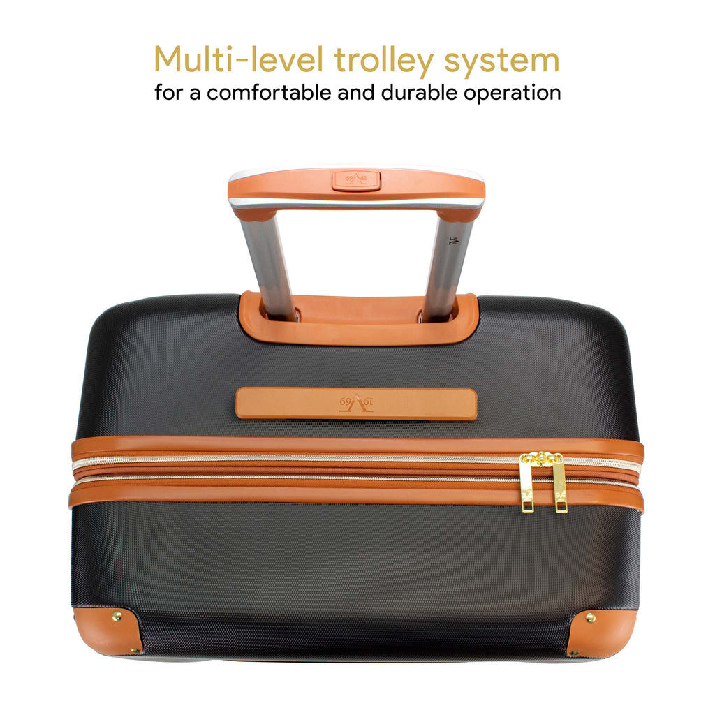 Vintage 3 Piece Expandable Hard Spinner Luggage Set (Black) - [variant_title] - Travellty