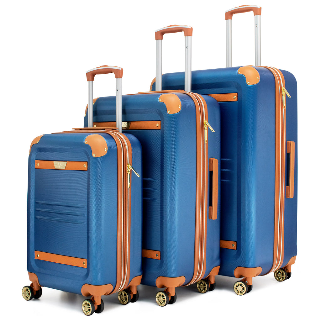 Vintage 3 Piece Expandable Hard Spinner Luggage Set (Blue)