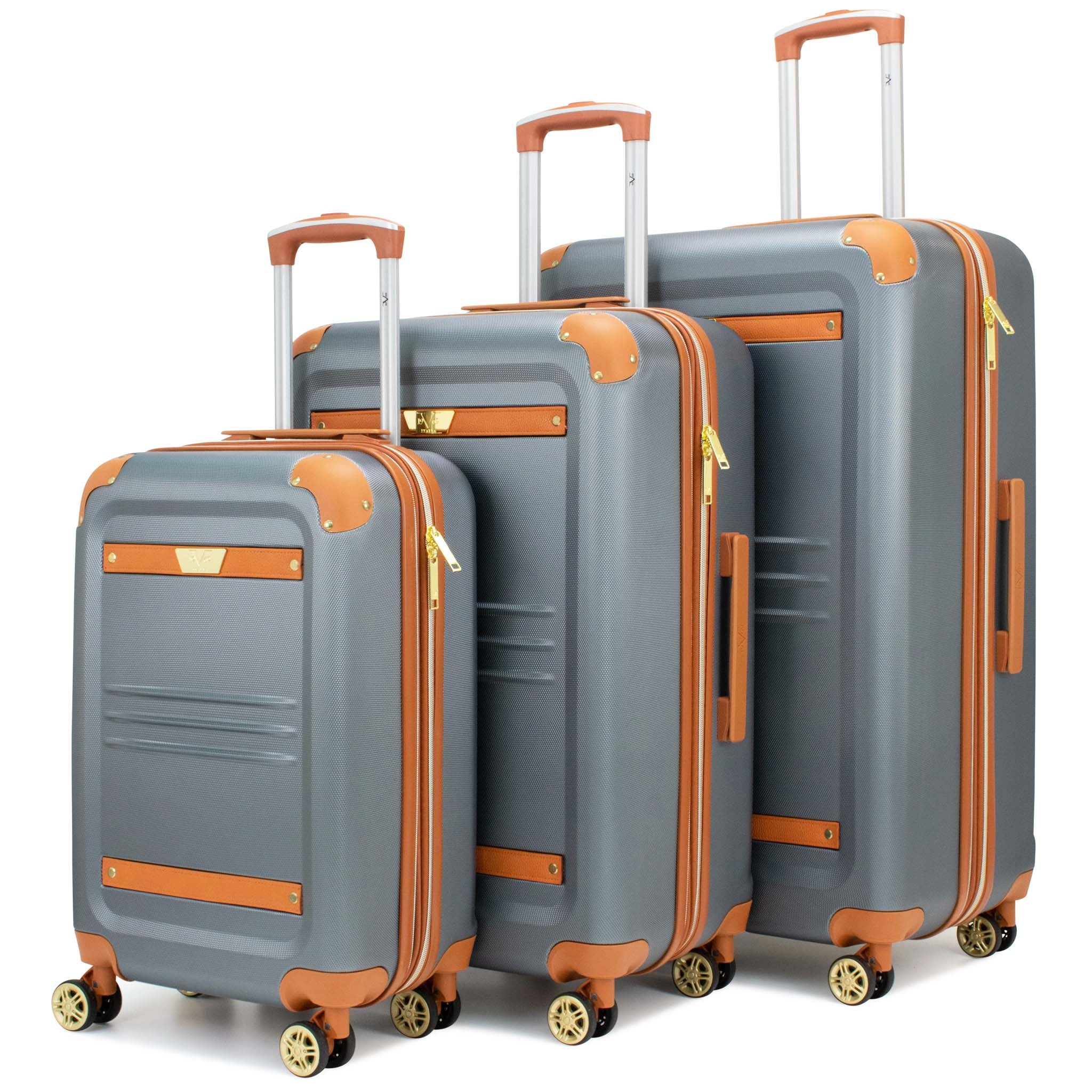 Vintage 3 Piece Expandable Hard Spinner Luggage Set (Grey) - [variant_title] - Travellty