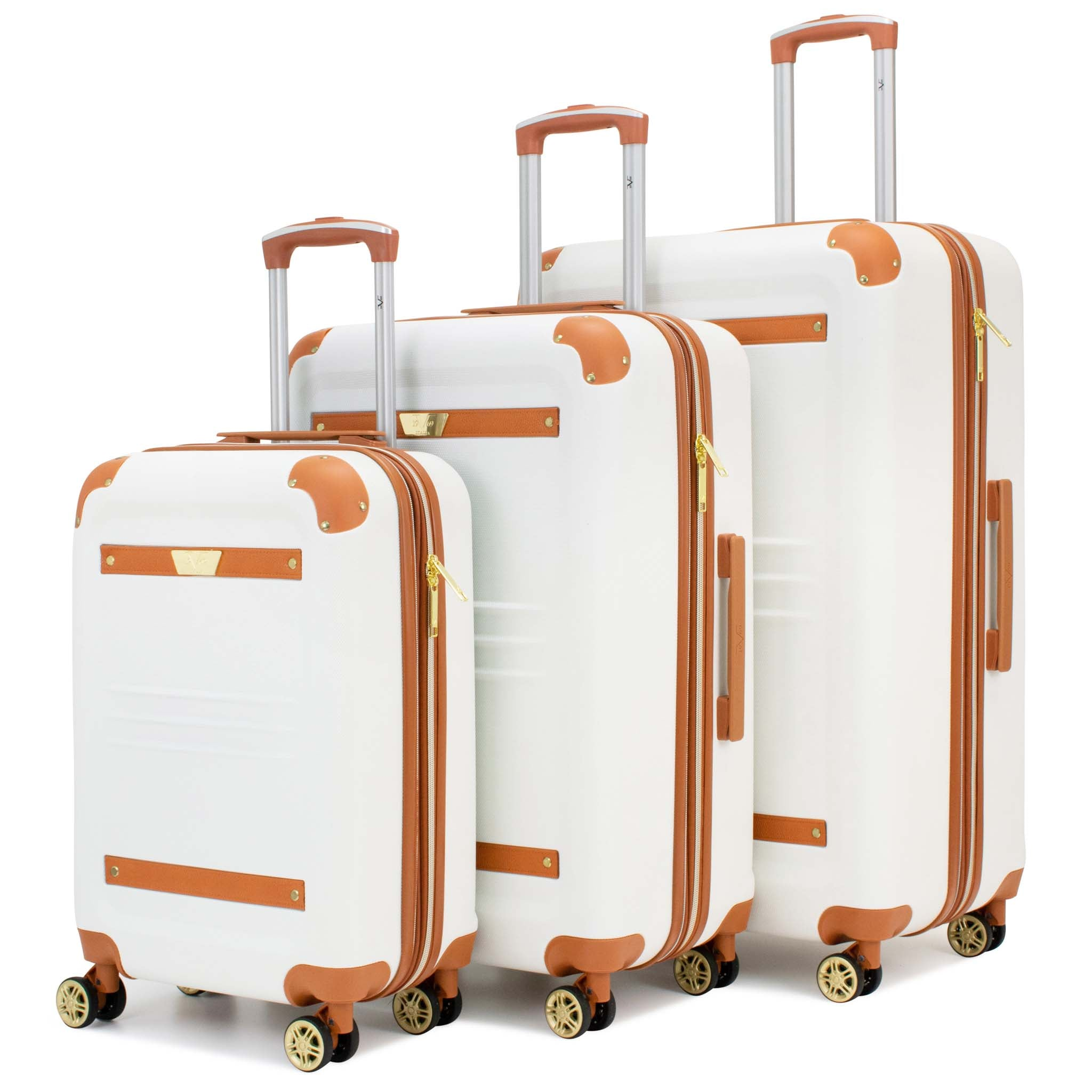 Vintage 3 Piece Expandable Hard Spinner Luggage Set (White) - [variant_title] - Travellty