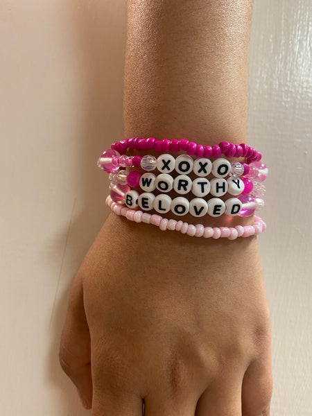 Encouraging Word Bead Bracelet Set