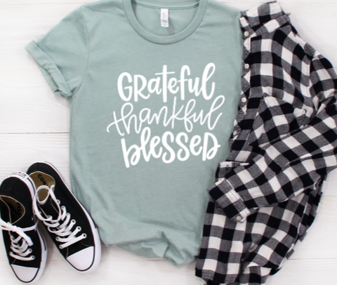 Grateful, Thankful, and Blessed Shirt in Curvy Size