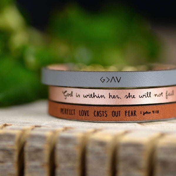 God is Greater than the Highs and Lows Leather Bracelet