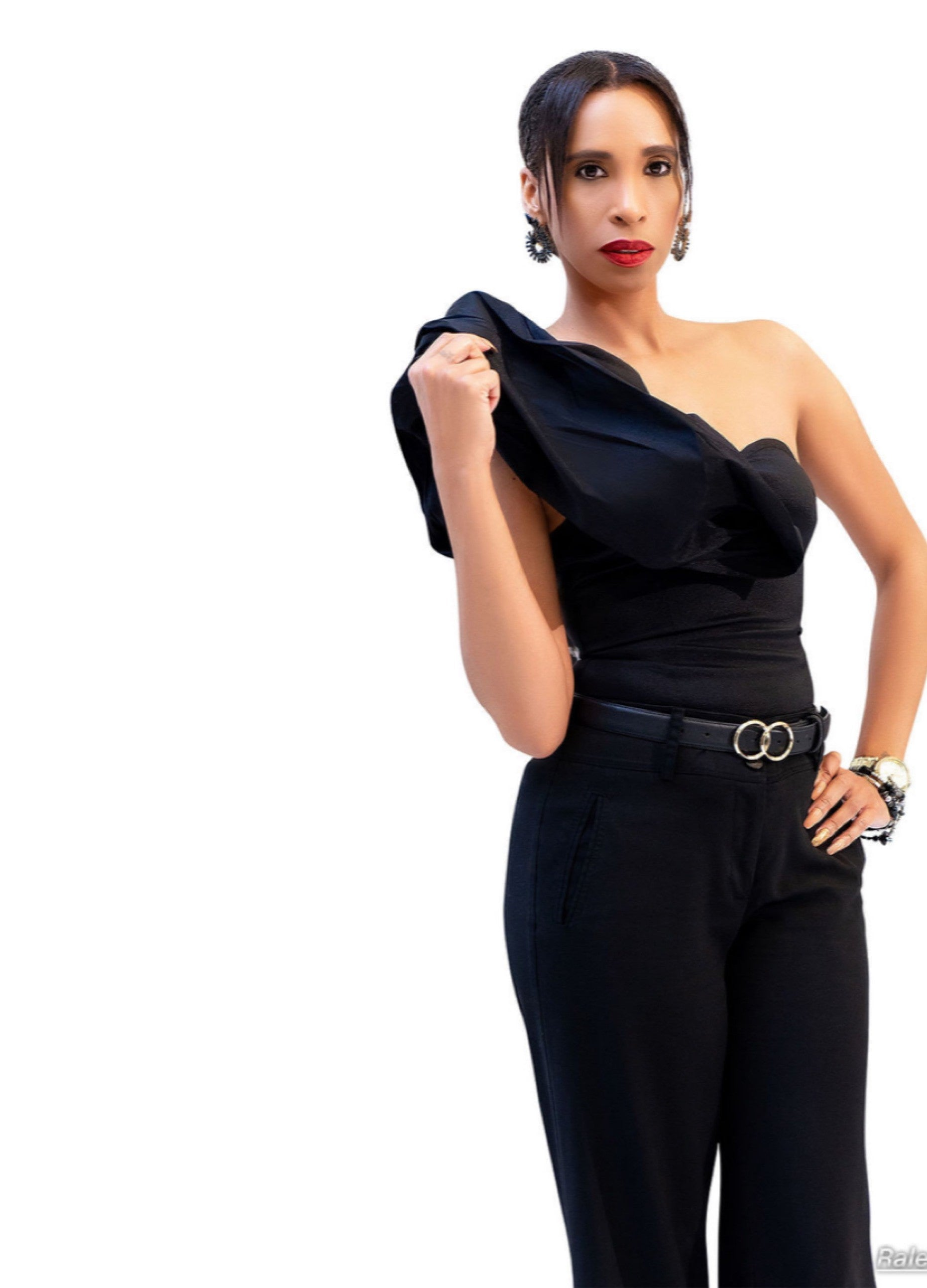 Anetra Byrd in a black outfit with white background