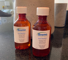 two bottles of hand sanitizer from Bremo Pharmacy