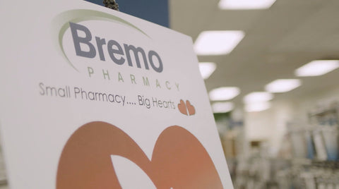 A sign that says Bremo Pharmacy, Small Pharmacy... Big Hearts