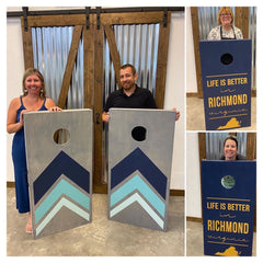 people pose with their personalized corn hole sets