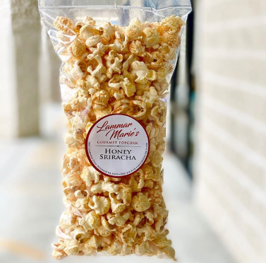 a bag of honey sriracha popcorn