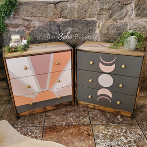~ Made to Order ~ Sunrise & Moon Phase Nightstand Pair