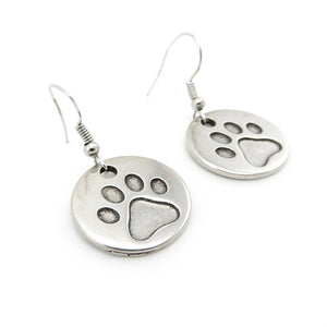 Paw Print Disc Earrings