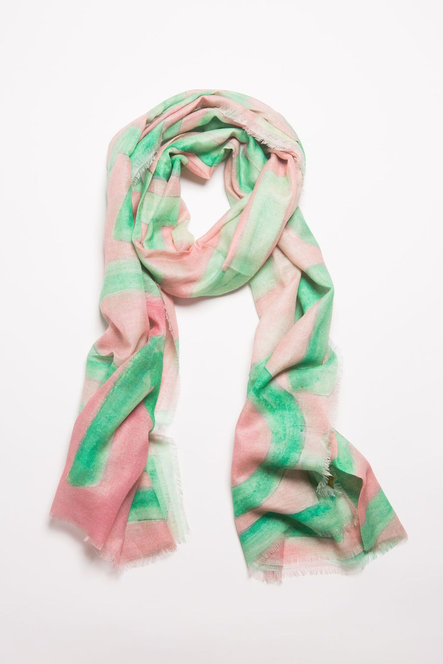 Cotton Linen Modal LOVE Scarf: Large Pink & Green