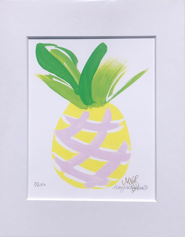 "PINEAPPLE #2 -SIGNED ART PRINT ON 100# PAPER WITH WHITE MAT TO FIT STANDARD 11"" X 14"" FRAME"