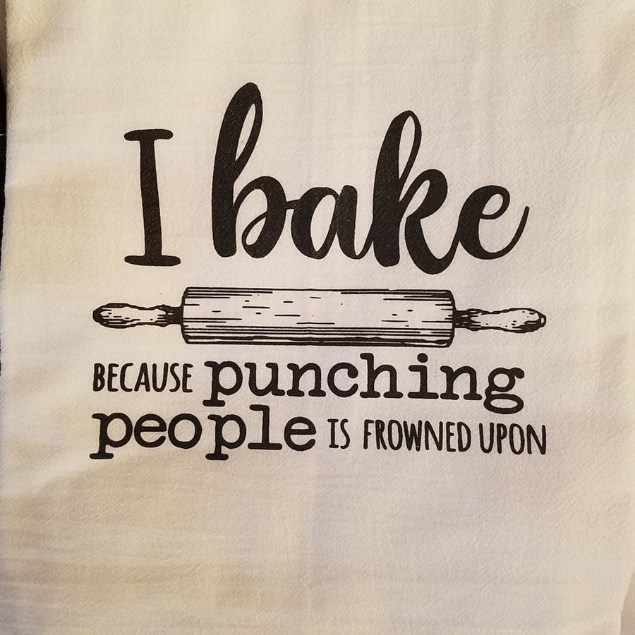 I Bake Because Punching People is Frowned Upon Towel