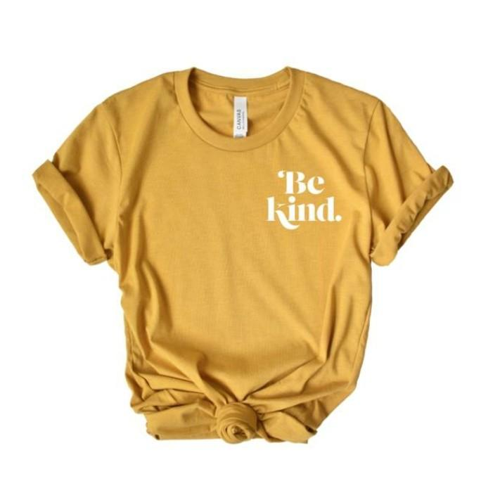 """Be Kind"" Mustard Pocket Tee"