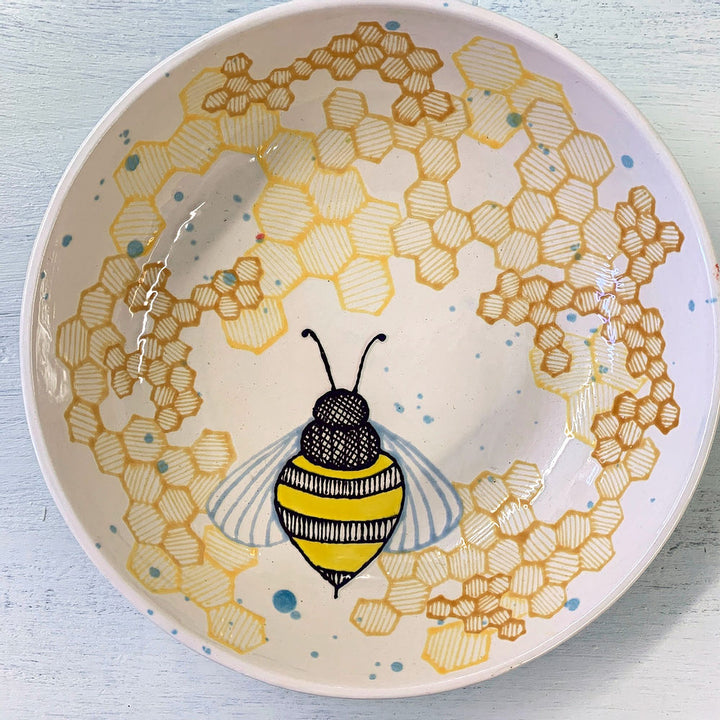 Hand Painted Birds and the Bees Round Serving Bowls
