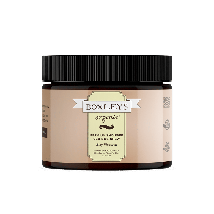 BUY ONE GET ONE Boxley's Organic Premium Dog Chew THC-Free 2mg CBD/chew 30 Chews/jar