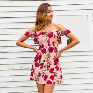 Ruffle off shoulder summer dress