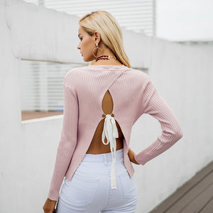 Backless bow knitted sweater