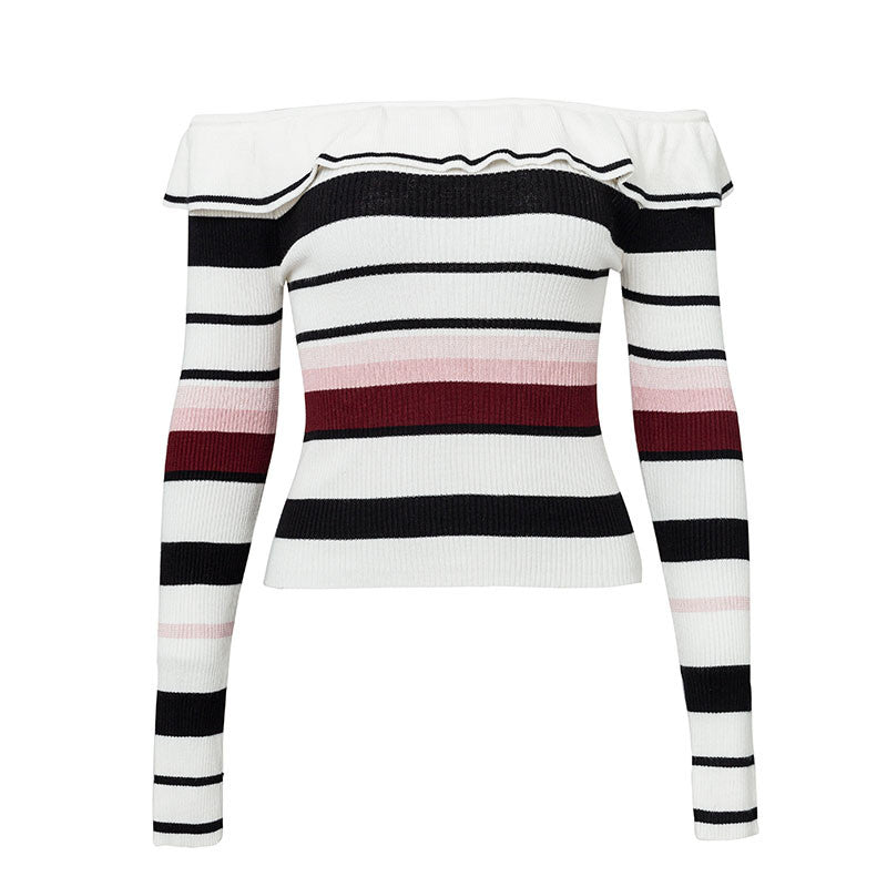 Stripe off shoulder sweater