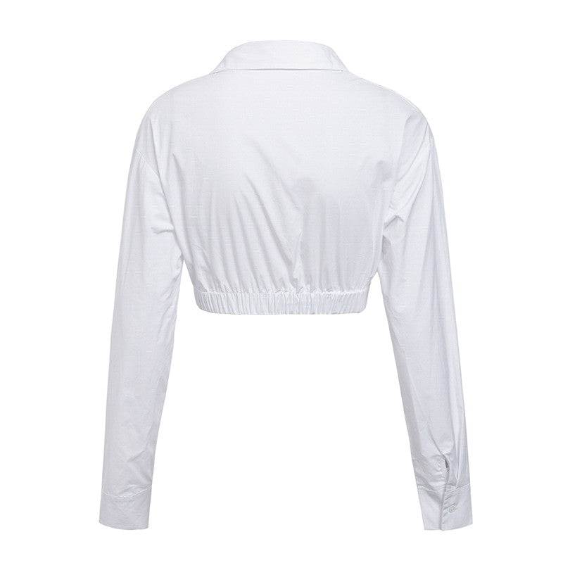 Glamaker White long sleeve deep v neck crop blouse shirt Women sexy party top tee shirt female blouse femme 2018 new tops & tees
