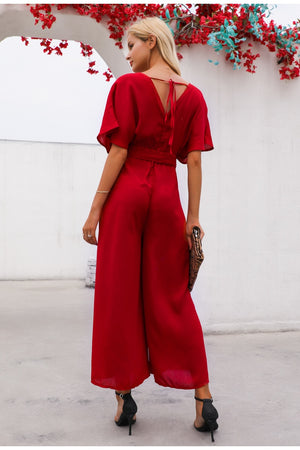 Red ruffle sleeve jumpsuit