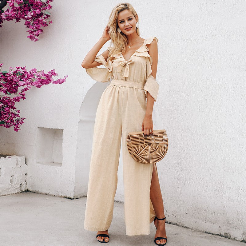 Elegant cold shoulder jumpsuit